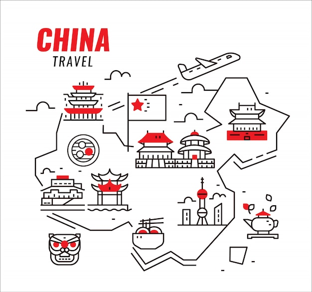 China travel. chinese traditional architecture, building and culture. Premium Vector
