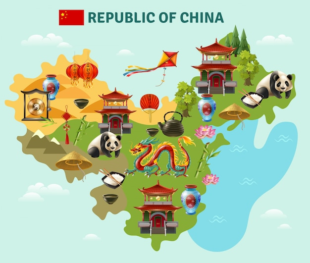 China travel sightseeing map poster Vector | Free Download on