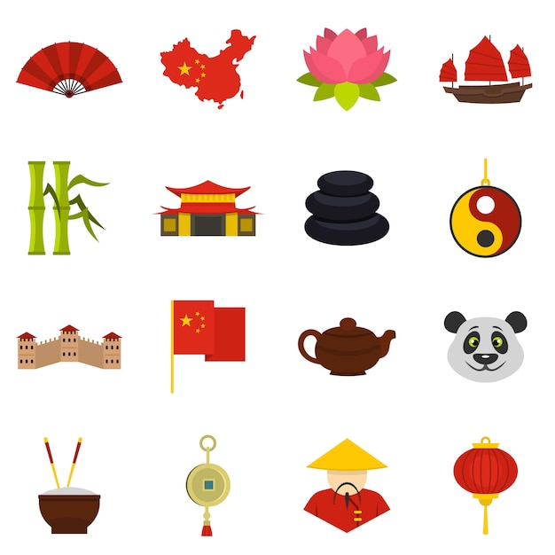 China travel symbols icons set in flat style Premium Vector