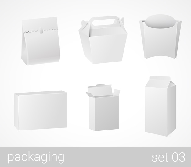 Chineese thai food and drink plastic and carton cardboard package set Free Vector