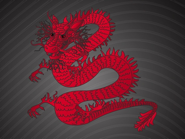 Chinese angry Red dragon vector