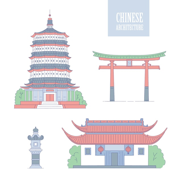 中国の建築のランドマーク。東洋の建物がアートゲートの塔とガゼボに並んでいます。中国の異なる建築国家の伝統を設定します。 Premiumベクター