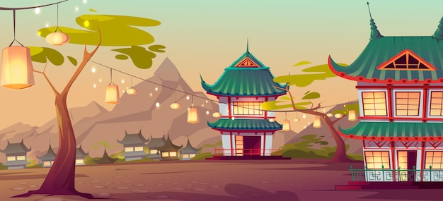 Chinese, asian village with traditional houses Free Vector