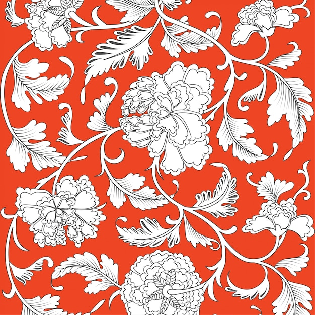 Chinese background with flowers Premium Vector