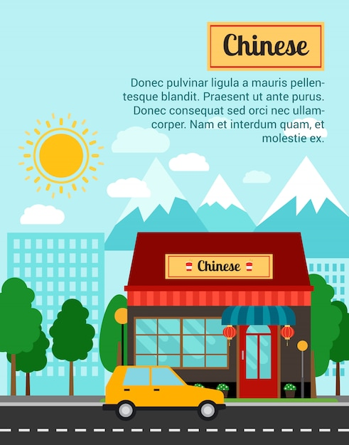 Chinese banner template with shop building Premium Vector