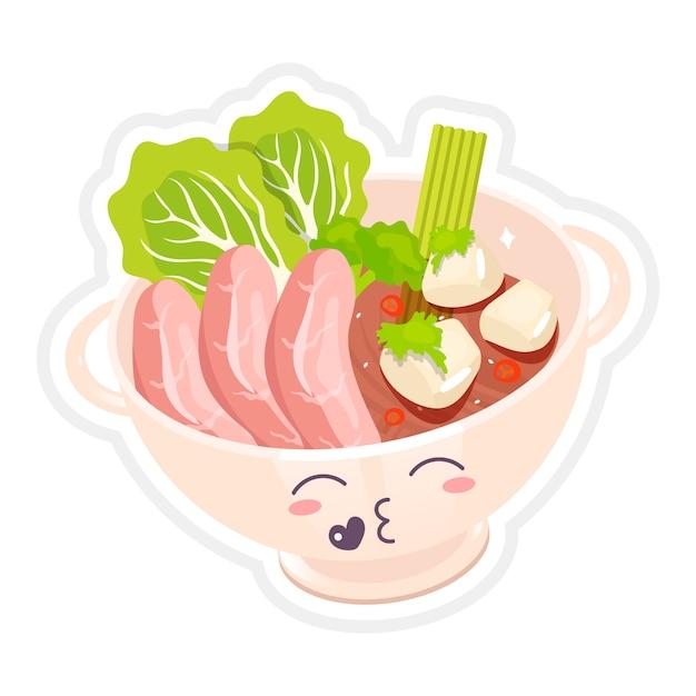 かわいいキャラクターの中華牛肉麺のスープ。キス顔のラーメン丼。アジアの伝統的な料理。野菜と肉。面白い絵文字、顔文字。孤立した漫画カラーイラスト Premiumベクター