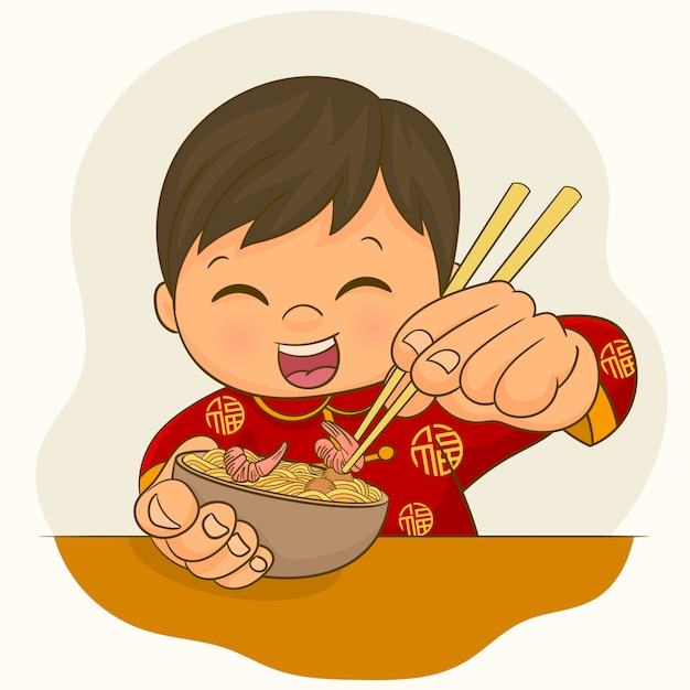 Chinese boy eating meal Premium Vector