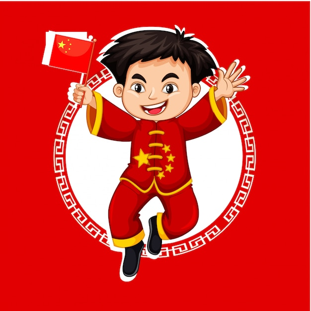 Chinese boy in red costume Free Vector