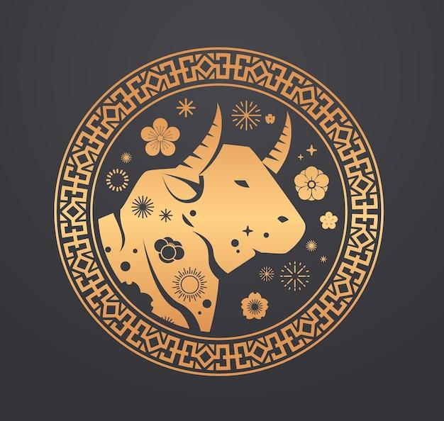 Китайский календарь на новый год бык бык значок буйвола знак зодиака для поздравительной открытки флаер приглашение плакат векторная иллюстрация Premium векторы