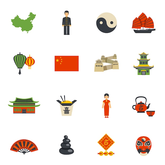 Chinese culture symbols flat icons set Free Vector