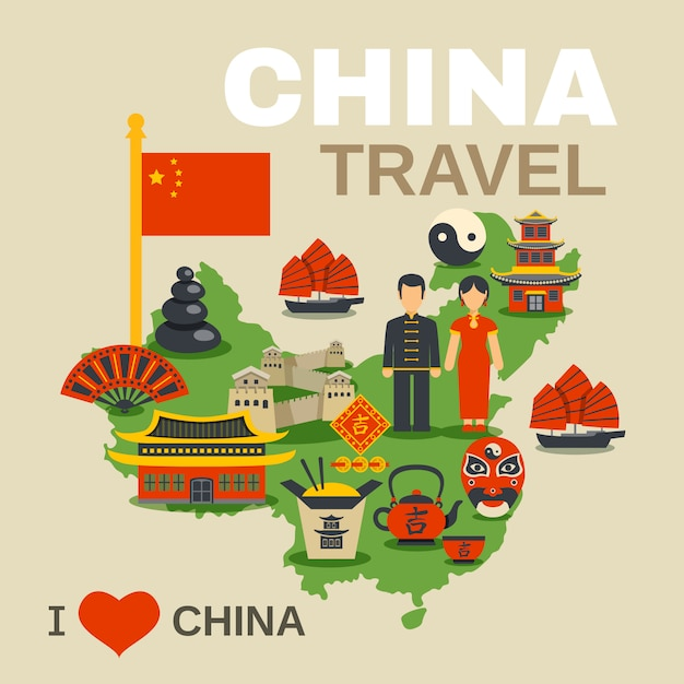 Chinese culture traditions travel agency poster Free Vector
