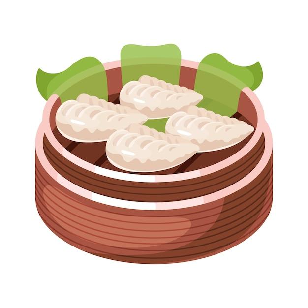 중국 딤섬 색상 아이콘입니다. 바구니에 아시아 작은 물린 요리. 동부 전통 요리. 다른 충전재로 찐 파이. 고기, 야채, 향신료와 만두. 삽화 프리미엄 벡터