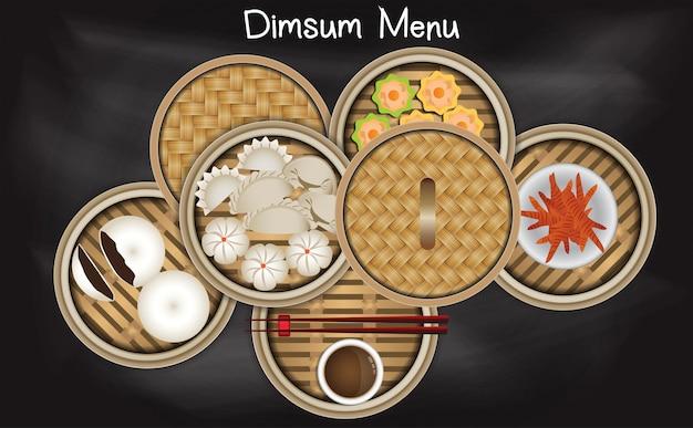 Chinese dim sum menu in  bamboo steamer basket Premium Vector