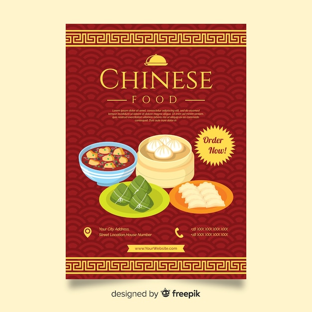 Chinese dishes restaurant flyer Free Vector