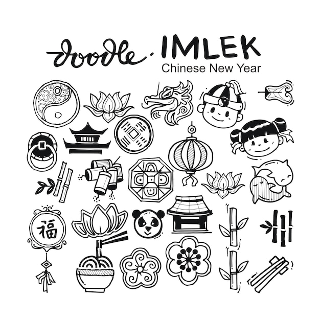 Chinese doodle hand drawn Premium Vector