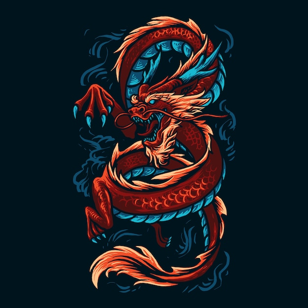 Chinese dragon illustration Premium Vector