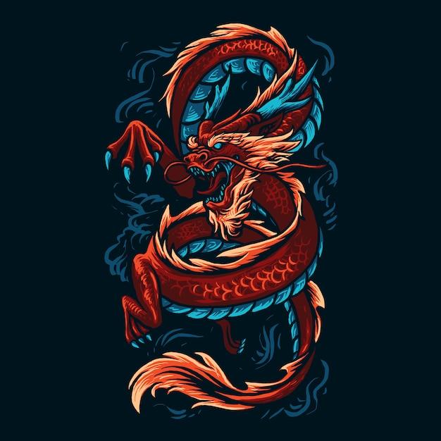 Иллюстрация китайского дракона Premium векторы