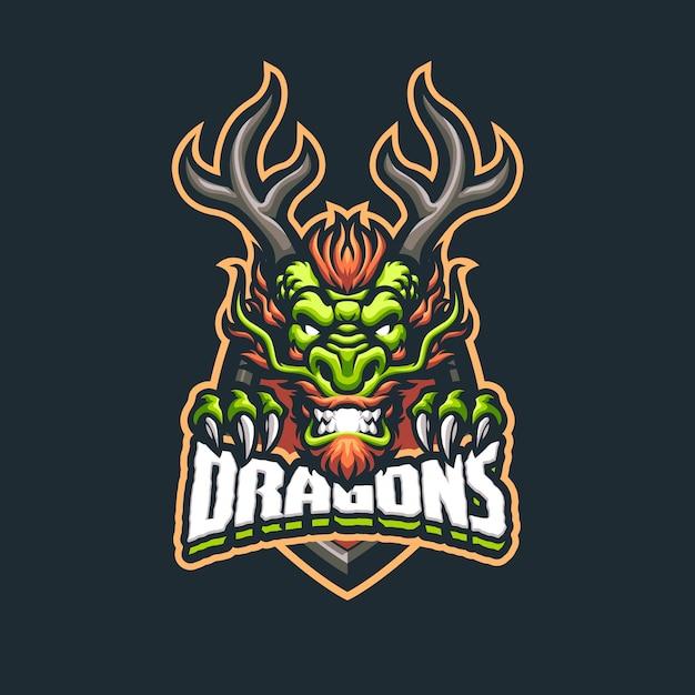 Eスポーツおよびスポーツチームの中国のドラゴンマスコットのロゴ Premiumベクター
