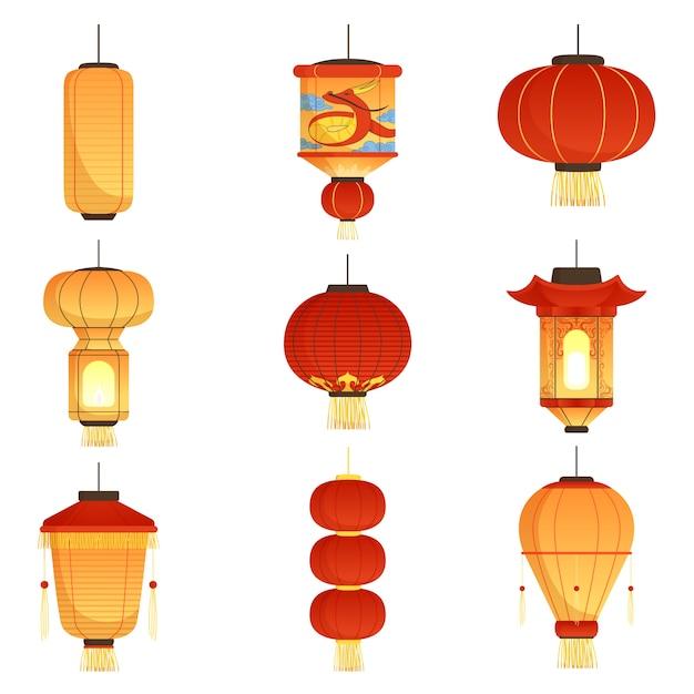 Premium Vector | Chinese festival lanterns. china street ...