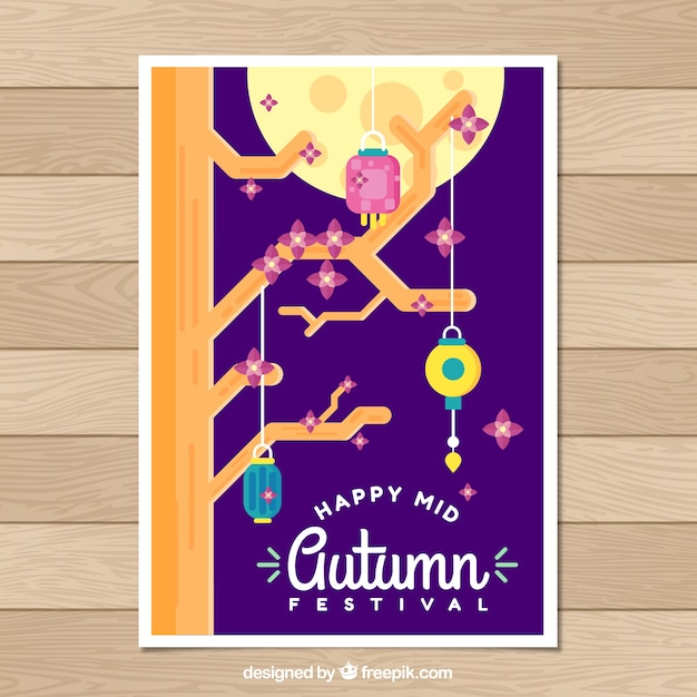 Chinese festival poster with traditional ornaments