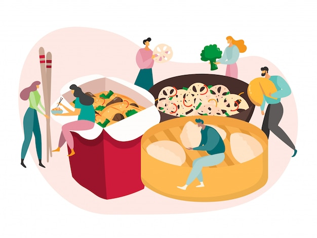 Chinese food concept, tiny people eat huge meal, lunch box delivery,  illustration Premium Vector