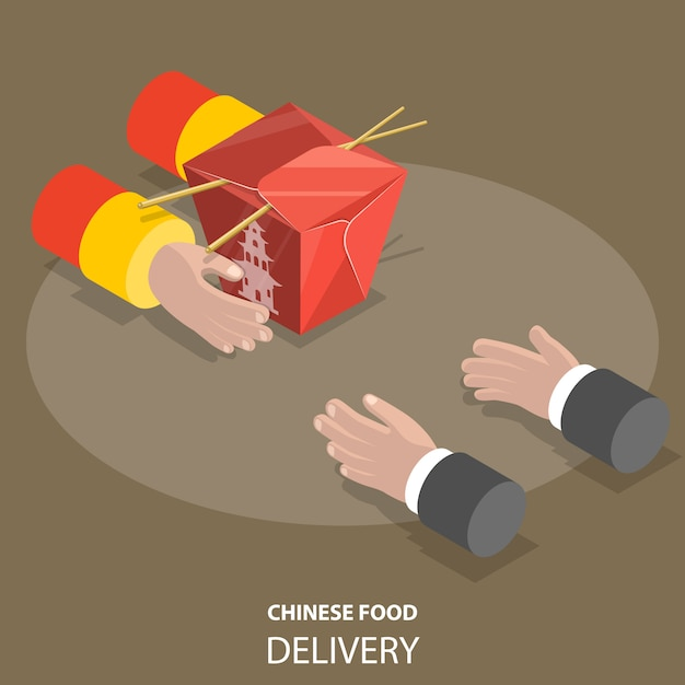 Chinese food fast delivery flat isometric low poly vector concept. Premium Vector