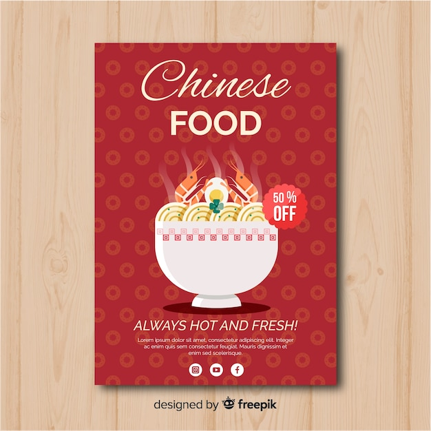 Chinese food flat  flyer Free Vector