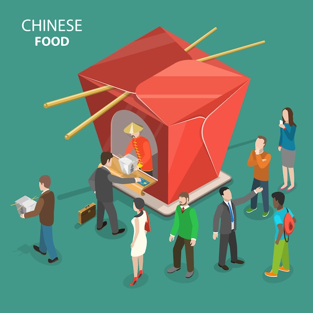Chinese food flat isometric low poly vector concept. Premium Vector