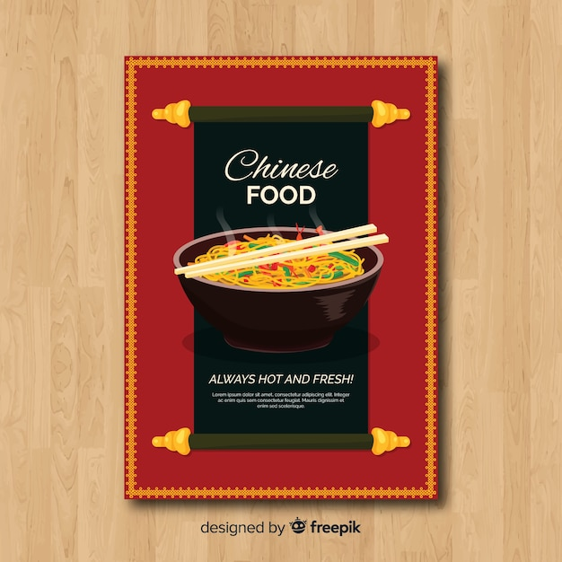 Chinese food flyer Free Vector