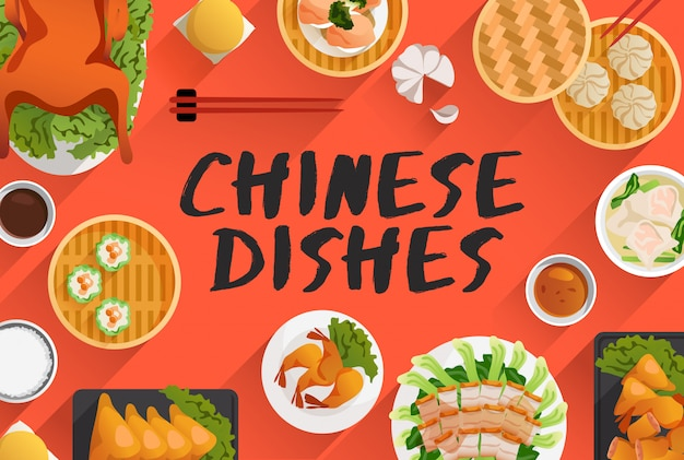 Chinese food, food illustration in top view. vector illustration Premium Vector