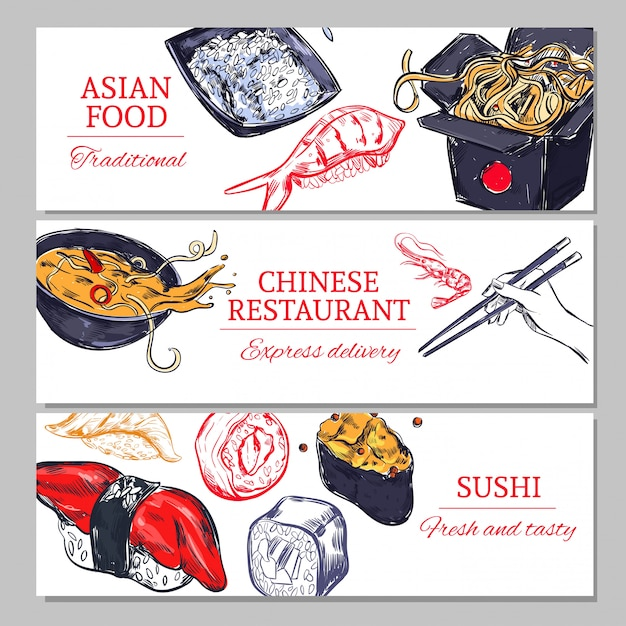 Chinese food horizontal banners Free Vector