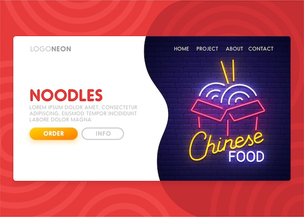 Chinese food landing page Premium Vector