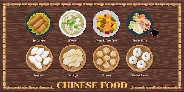 Chinese food menu set Premium Vector