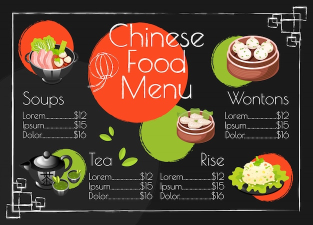 Chinese food menu template. asian cuisine traditional dishes. print design with cartoon icons. concept illustrations. restaurant, cafe banner, flyer brochure page with food prices layout Premium Vector