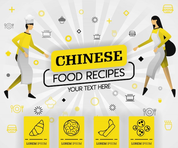 Chinese food recipes in yellow book cover Premium Vector