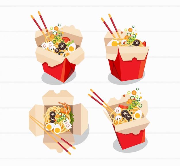 中華料理はボックスを奪う、ボックス麺を奪う、ベクトルイラスト Premiumベクター