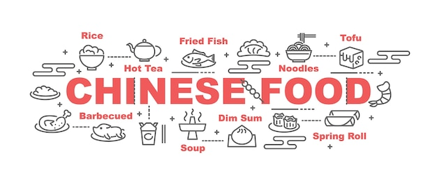 Chinese food vector banner Premium Vector