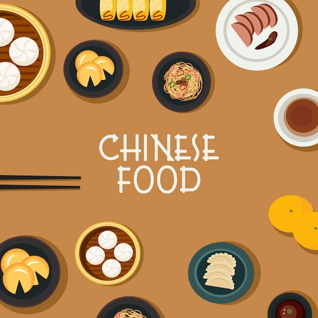 Chinese food vector Premium Vector