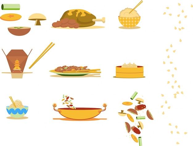 Китайская еда Premium векторы