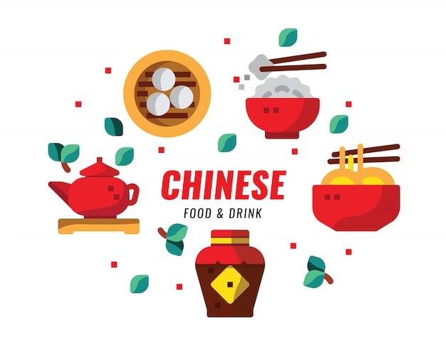 Chinese foods and drink, cuisine, recipes banner. flat design vector illustration Premium Vector