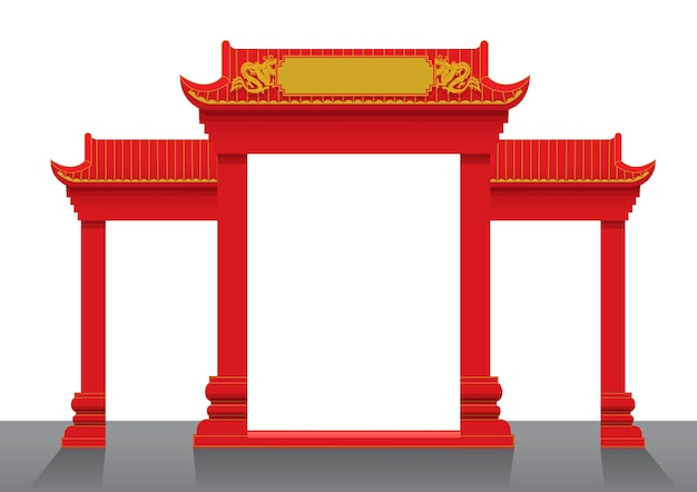 Chinese gate vector illustration Premium Vector