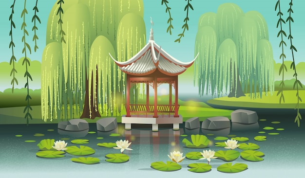 睡蓮と柳のある湖の上の中国の望楼。 сartoonスタイルのベクトル図です。 Premiumベクター