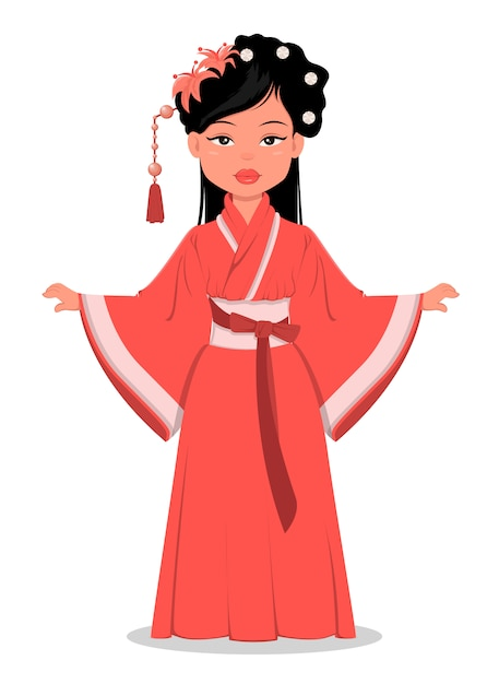 Chinese girl in traditional clothes Premium Vector
