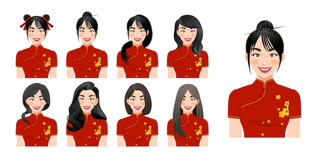 Premium Vector Chinese Girl Wear Cheongsam With Different Hairstyle Set Isolated Illustration