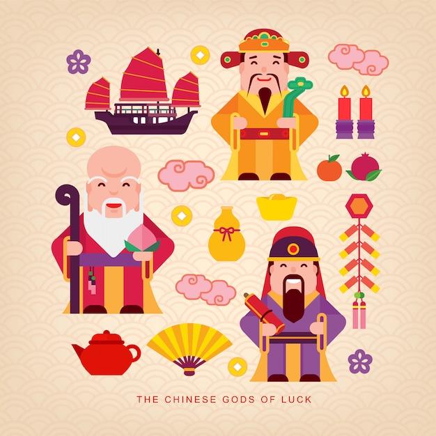 Chinese gods of luck Premium Vector