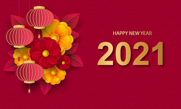 Premium Vector Chinese Greeting Card For 2021 New Year Red Lanterns And Flowers