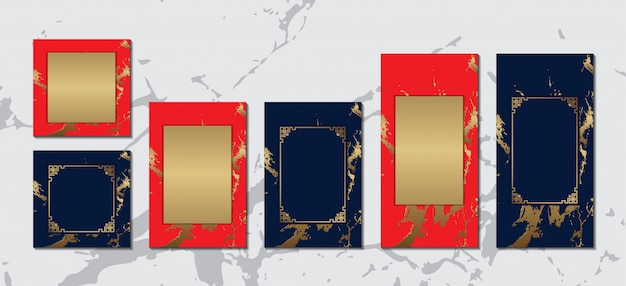 Chinese greeting card with gold frame on red blue marble  luxury collection for text message  design Premium Vector