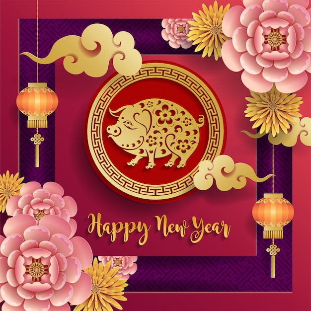 Chinese happy chinese new year 2019 pig zodiac sign  on color background. Premium Vector