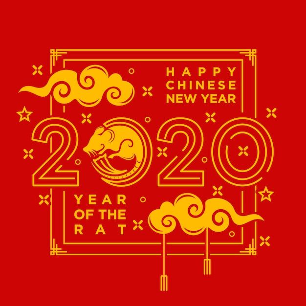 Chinese happy new year card Premium Vector