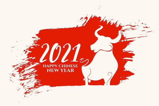 Chinese happy new year of ox  card Free Vector